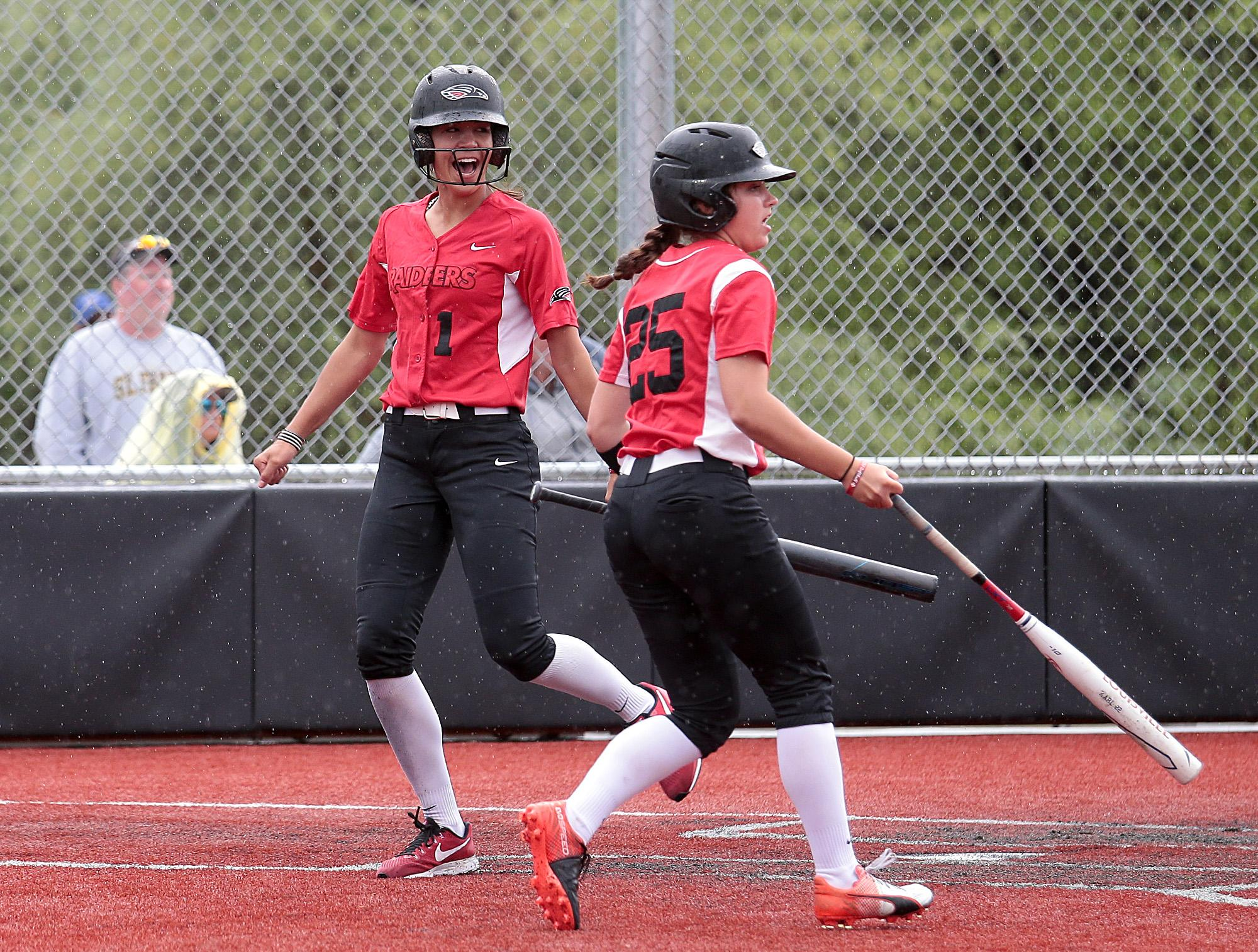 Southern Oregon University freshman Tayler Walker reacts after scoring against St. Francis, as teammate Hannah Wessel looks on, at US Cellular Community Park on Wednesday.[PHOTO BY:  LARRY STAUTH JR]
