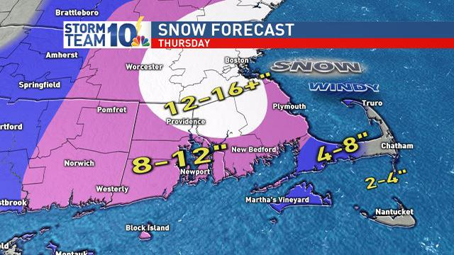 Latest snow forecast, still some subtle changes to this are possible as the storm passes to our east Thursday