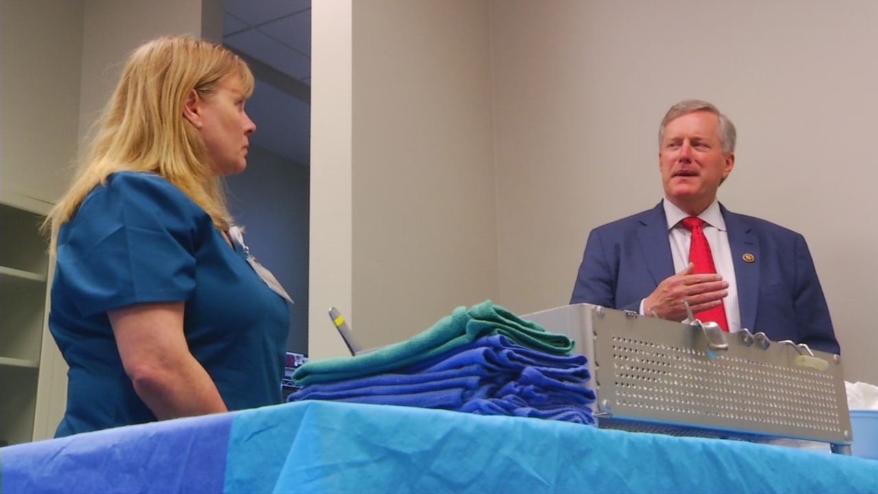"""I've had a number of conversations with the administration, with our leadership, with senators and just left Mission Hospital,"" Rep. mark Meadows, R-NC11, said. ""And how we make sure health care is affordable and accessible to everybody and making sure those pre-existing conditions are taken care of, that's my commitment to the people I serve."" (Photo credit: WLOS staff)"