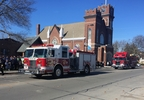 Fire trucks line the street outside Emmanuel Lutheran Church in Seymour Nov. 7, 2016, during a funeral for Town of Oneida firefighter John C. Brocker.
