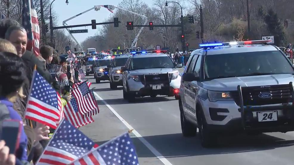 People began lining the procession route early to honor the fallen Westerville officers (WSYX/WTTE)