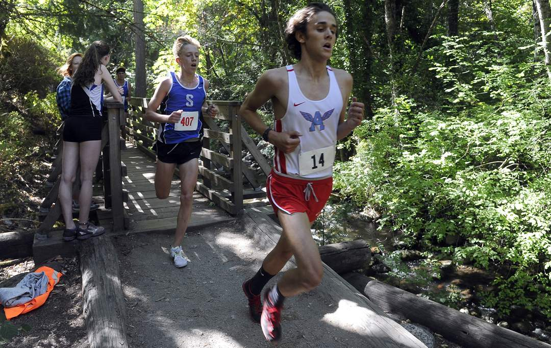 State of Jefferson Cross Country meet in Ashland's Lithia Park 9-30-17. Boys Varsity Race - Andy Atkinson