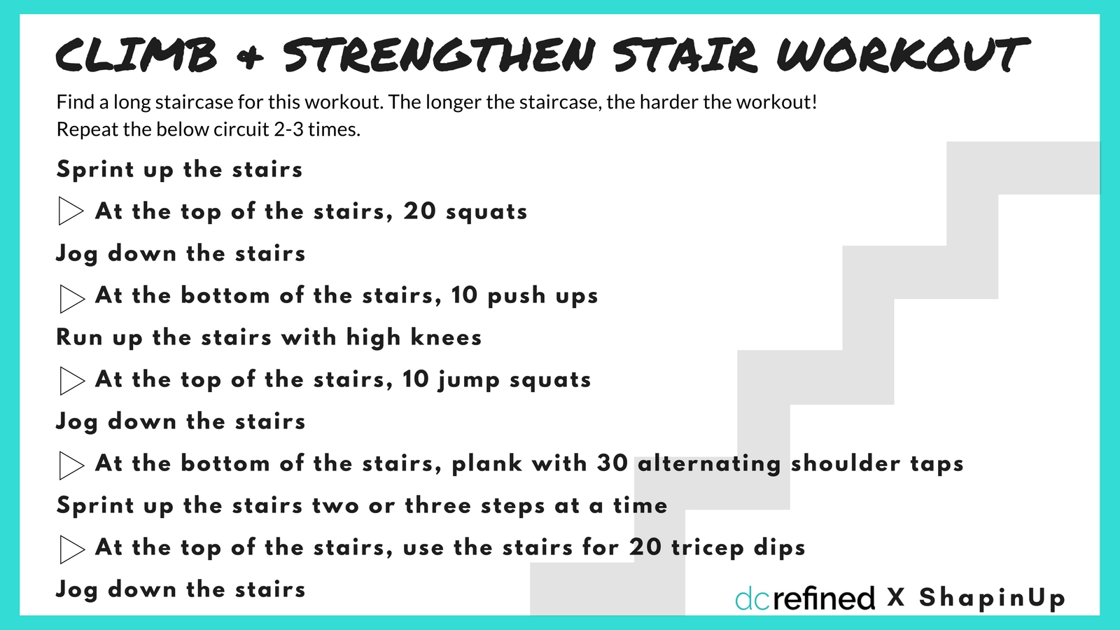 All you need for this workout is a long set of stairs. The longer the staircase you can find, the more you'll get out of this workout. (Image: Amanda Shapin)<p></p>