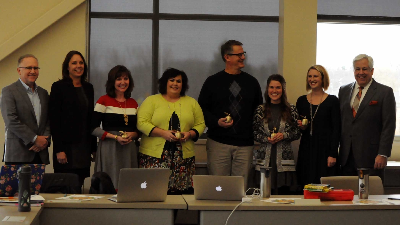 The Howard-Suamico School District Gifted and Talented Team celebrate their Golden Apple Awards with FOX 11's Tom Milbourn and program sponsors March 8, 2017. (WLUK/Donna Fischer)