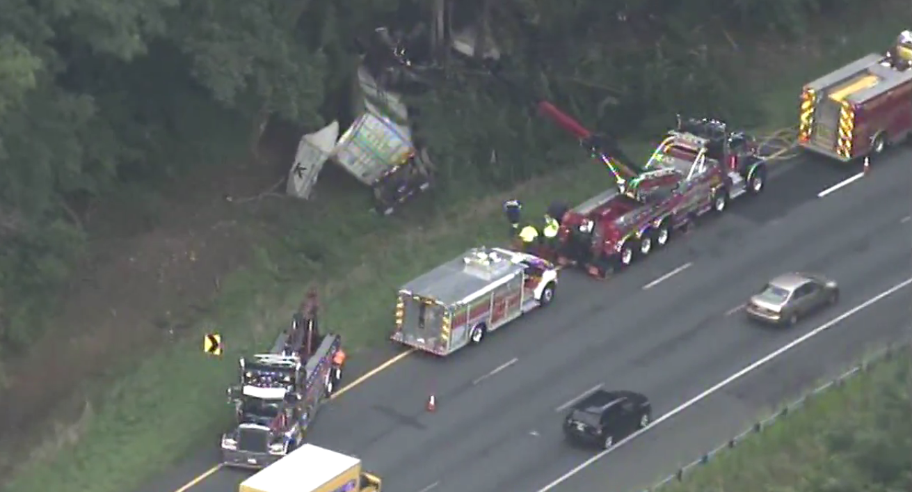A person has died after an early morning tractor trailer crash in Myserville, Md.  Friday, Aug. 11, 2017 (SkyTrak7)