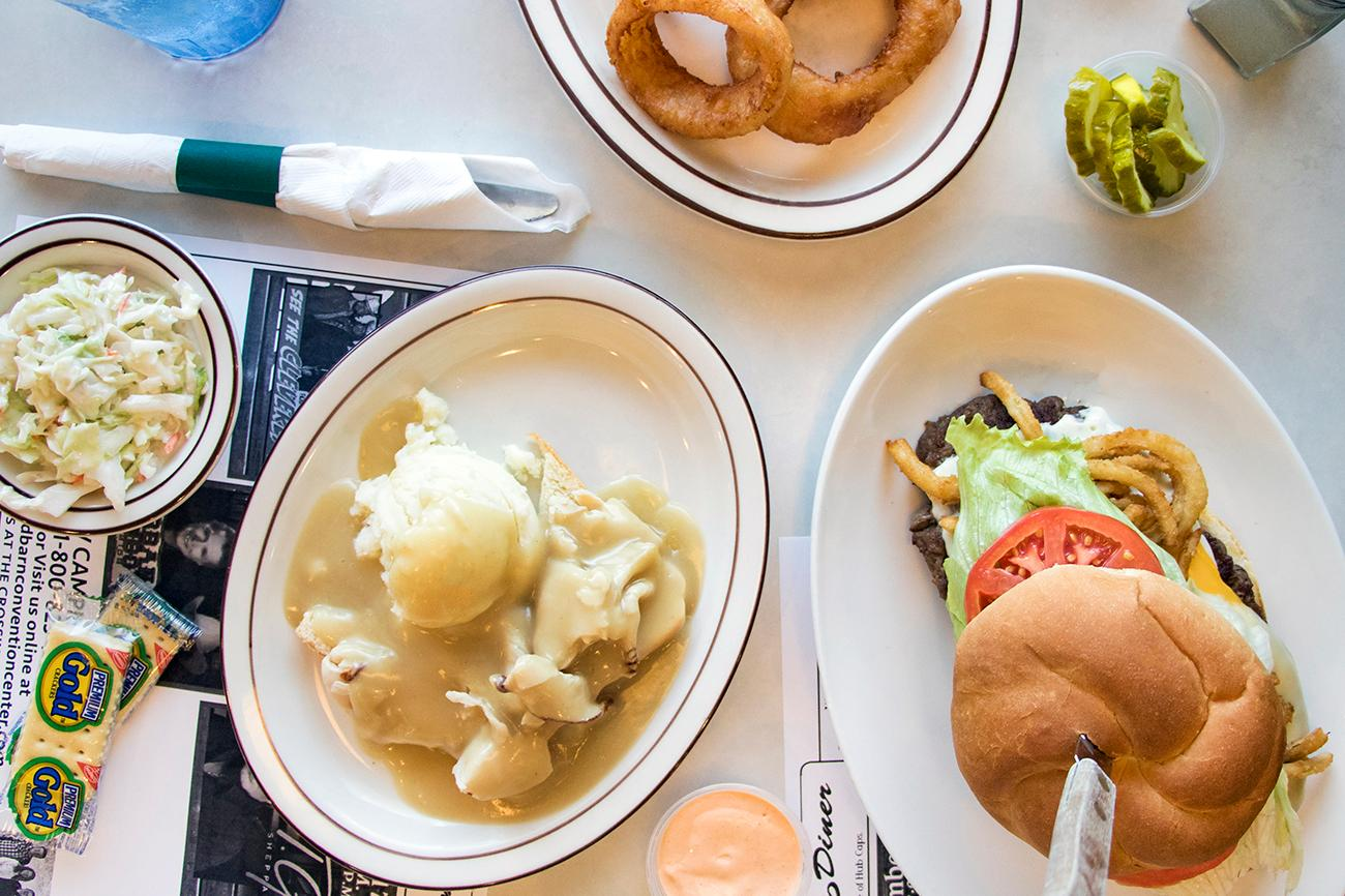 Open face roast turkey sandwich with mashed potatoes and gravy on white bread and the Hubcap Burger{ }/ Image: Allison McAdams // Published: 10.8.18