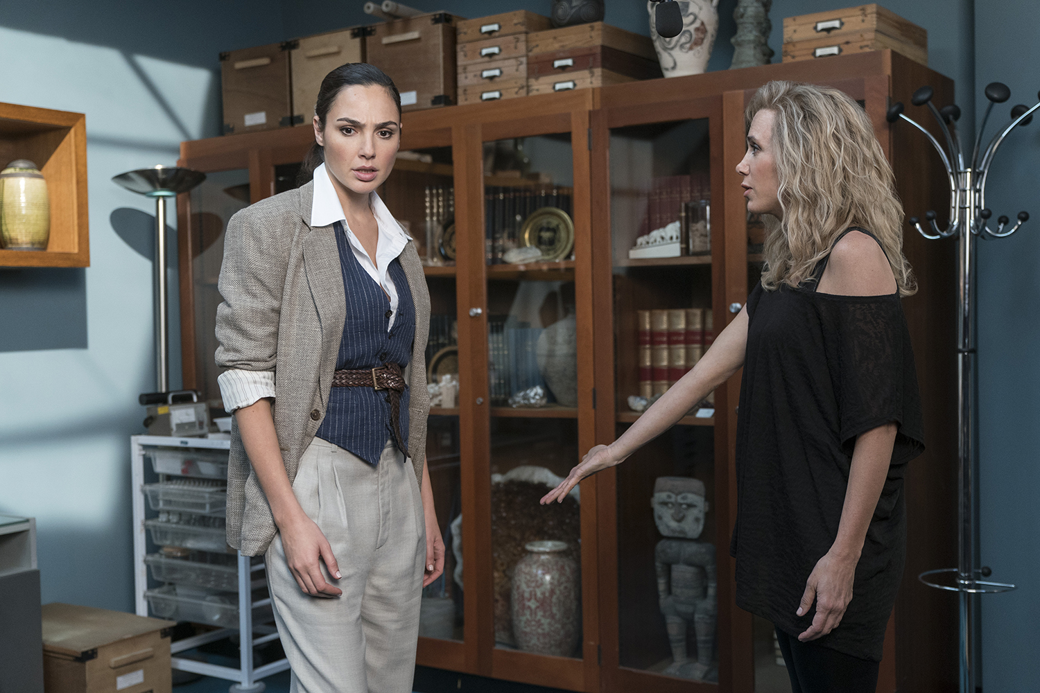 GAL GADOT as Wonder Woman and KRISTEN WIIG as Barbara Minerva (Image: Warner Bros. Pictures)