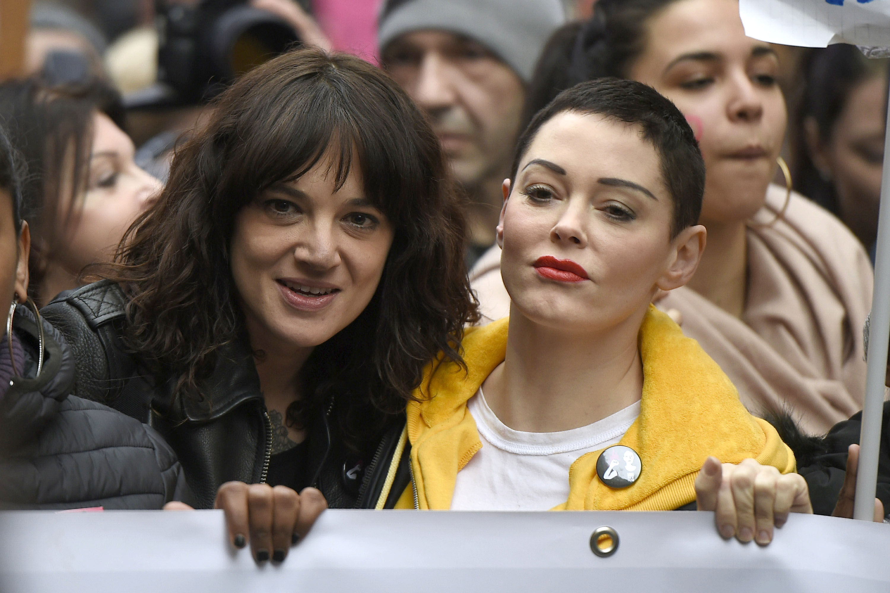 Asia Argento and Rose McGowan participate in a parade on International Women's Day in Rome, Italy. When: 08 Mar 2018 Credit: IPA/WENN.com