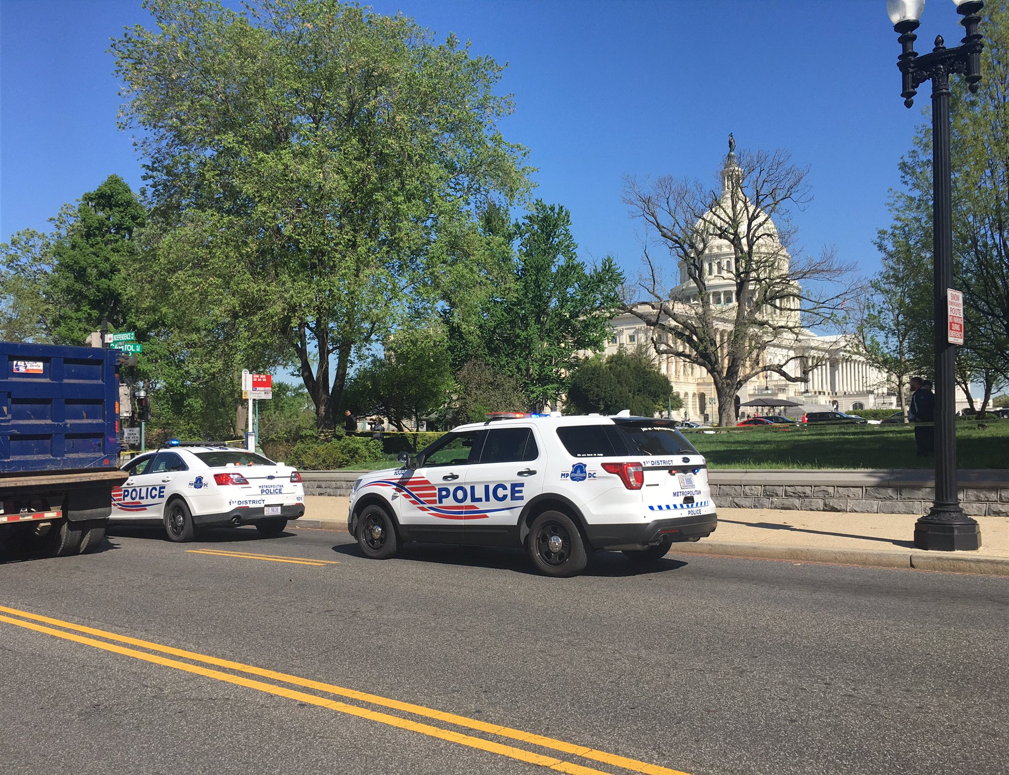 U.S. Capitol Police and Metropolitan Police responded to a large tree branch falling on a man, who was seriously injured and taken to an area hospital.  (Suzanne Kennedy/ABC7)