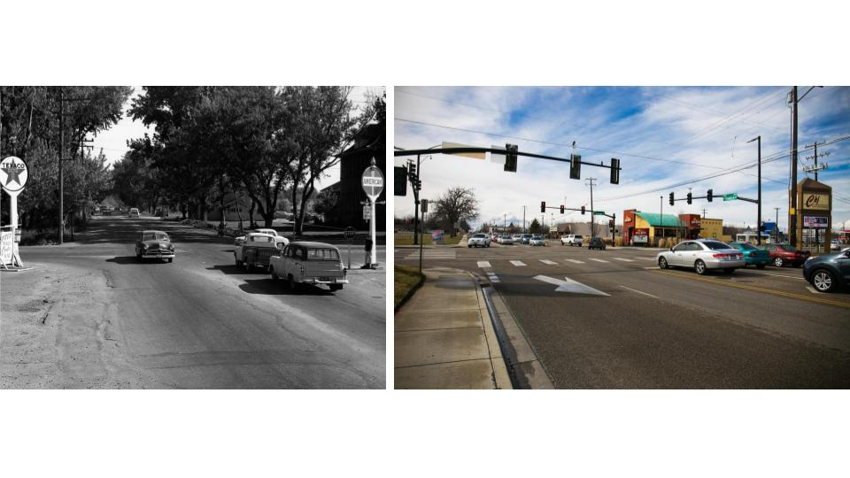 Intersection of Orchard and Franklin in 1940's Boise. (Kristen McPeek and Idaho State Archives)