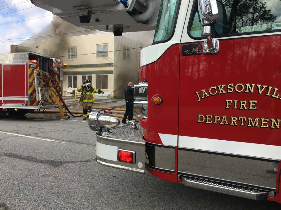 A furniture store in Jacksonville caught on fire this afternoon. (Jacksonville Public Safety)