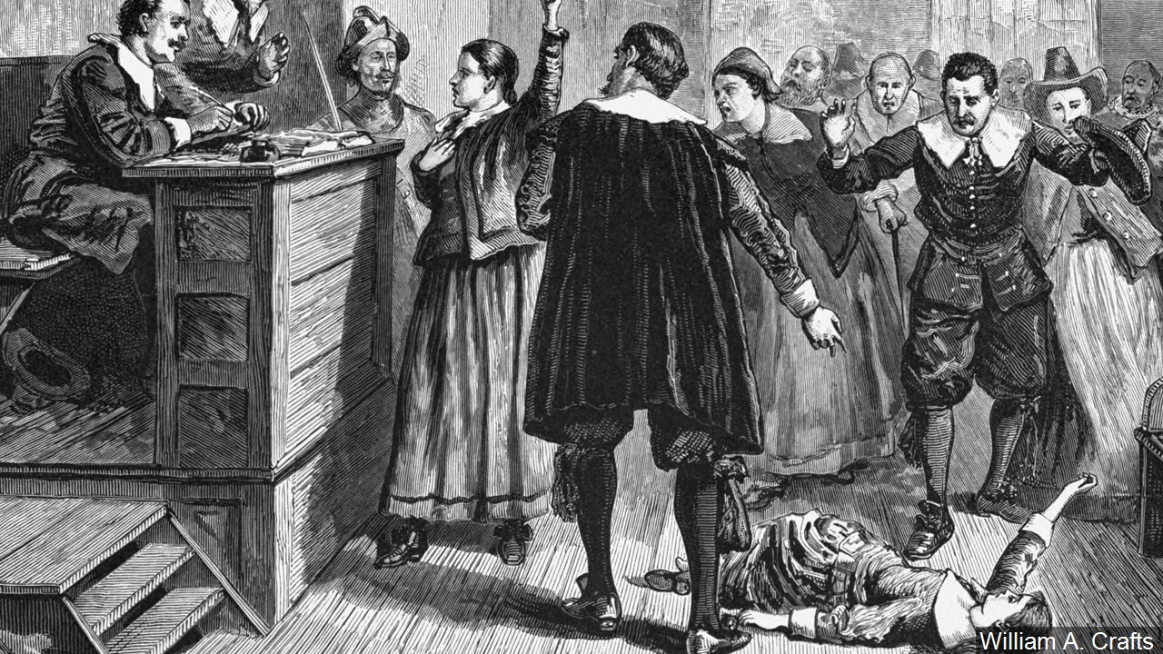 """Witchcraft at Salem Village."" Engraving. The central figure in this 1876 illustration of the courtroom is usually identified as Mary Walcott. (William A. Crafts/MGN)"