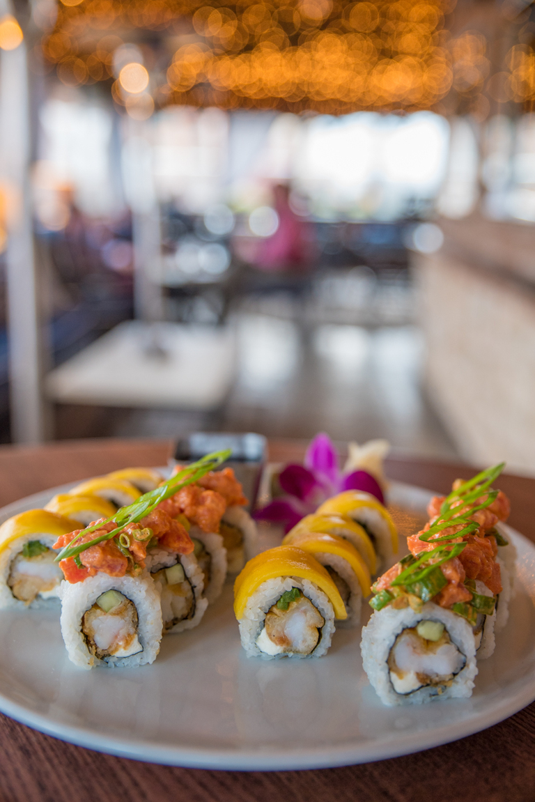 Boom Boom Roll (tempura shrimp, spicy tuna, cream cheese, cucumber, and green onion) and Sunshine Roll (tempura shrimp, fresh mango, cream cheese, jalapeno, lime zest, and sriracha honey aioli) / Image: Sherry Lachelle Photography // Published: 3.21.18