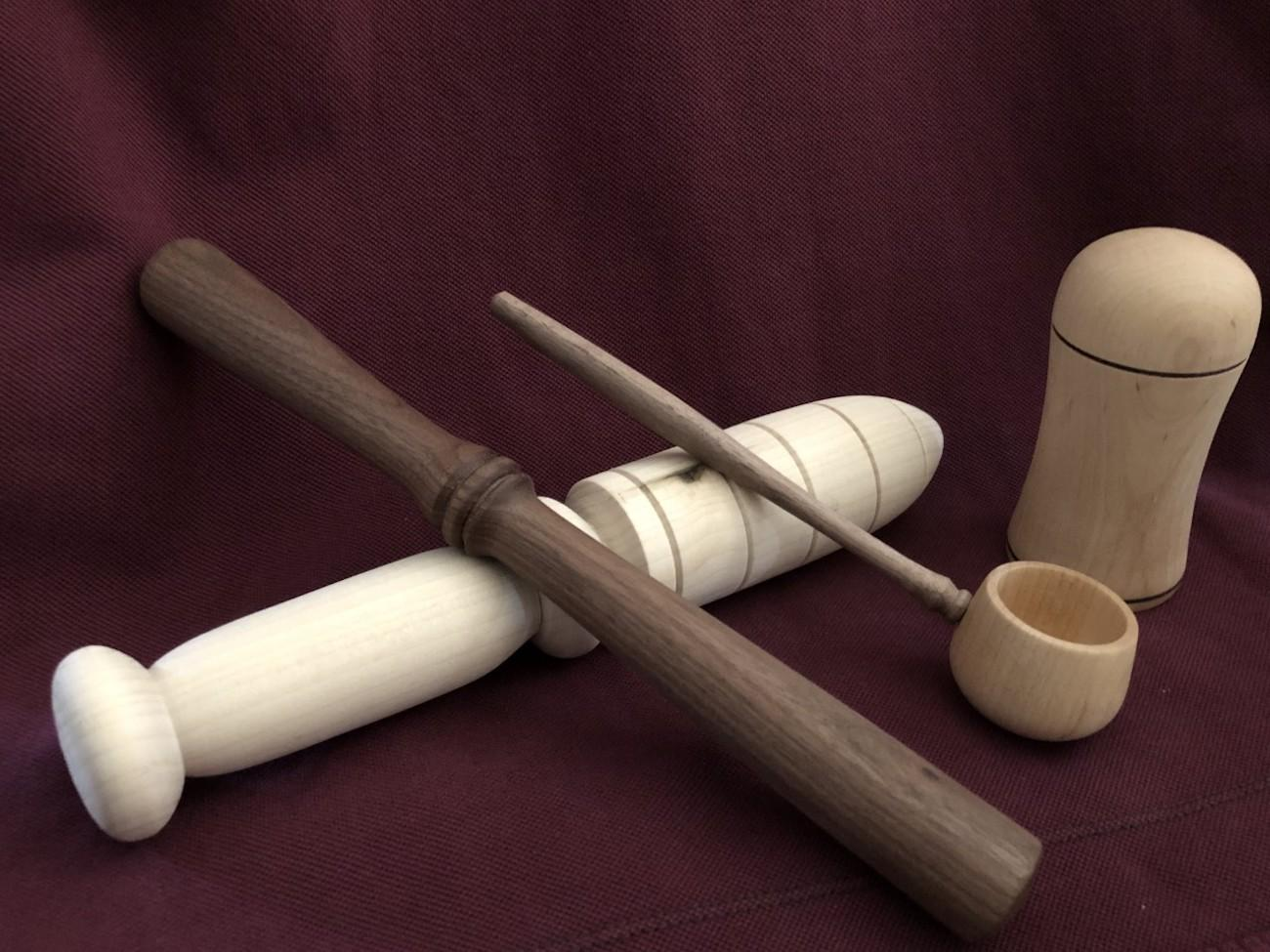 Garden dibble, scoop, secret salt shaker, and a mortar by Monica Bluestein, a five-year turning veteran / Image courtesy of the Ohio Valley Woodturners Guild // Published: 4.18.19