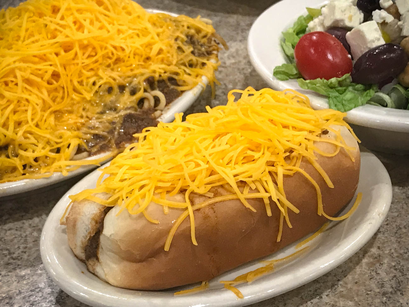 3-Way, Cheese Coney, and a Greek Salad / Image: Katie Robinson, Cincinnati Refined // Published: 11.18.18