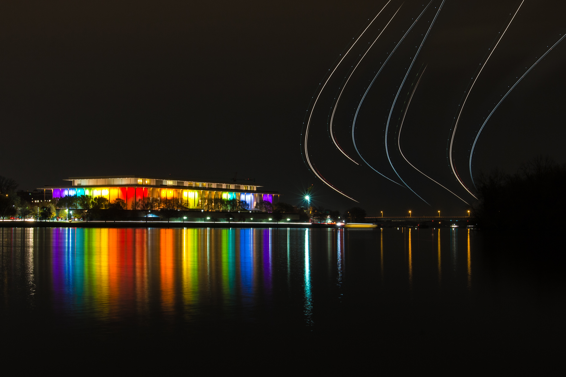 In the Rainbow of Honor – Kennedy Center lit up like a rainbow for the honors celebration{&nbsp;}(Image: Zack Lewkowicz)<p></p>