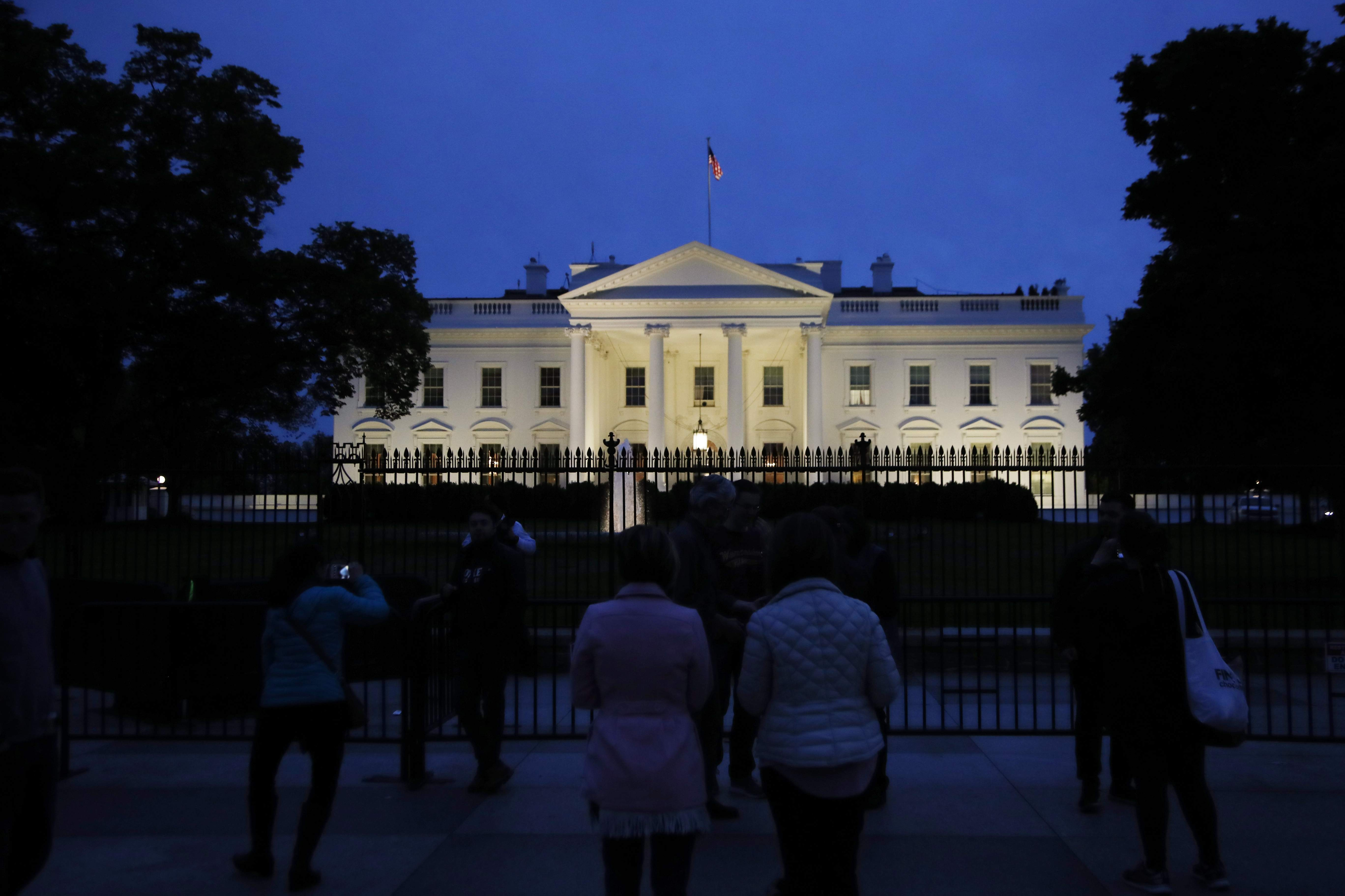 DAY 94 - In this April 23, 2017, file photo, The White House in Washington. The president stayed in town for the weekend but did not hold any public events on day 94 and was not photographed. (AP Photo/Manuel Balce Ceneta, File)