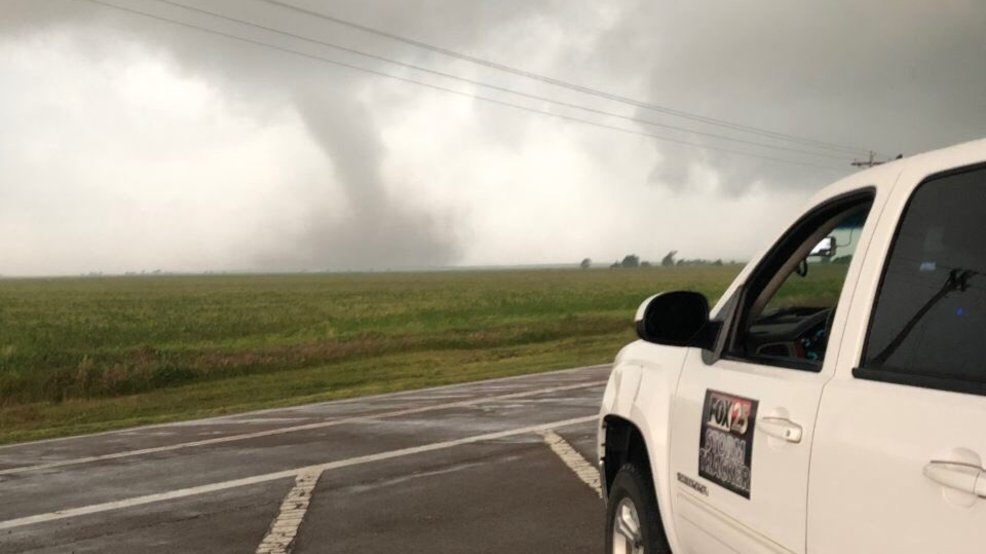 Large tornado narrowly misses Mangum