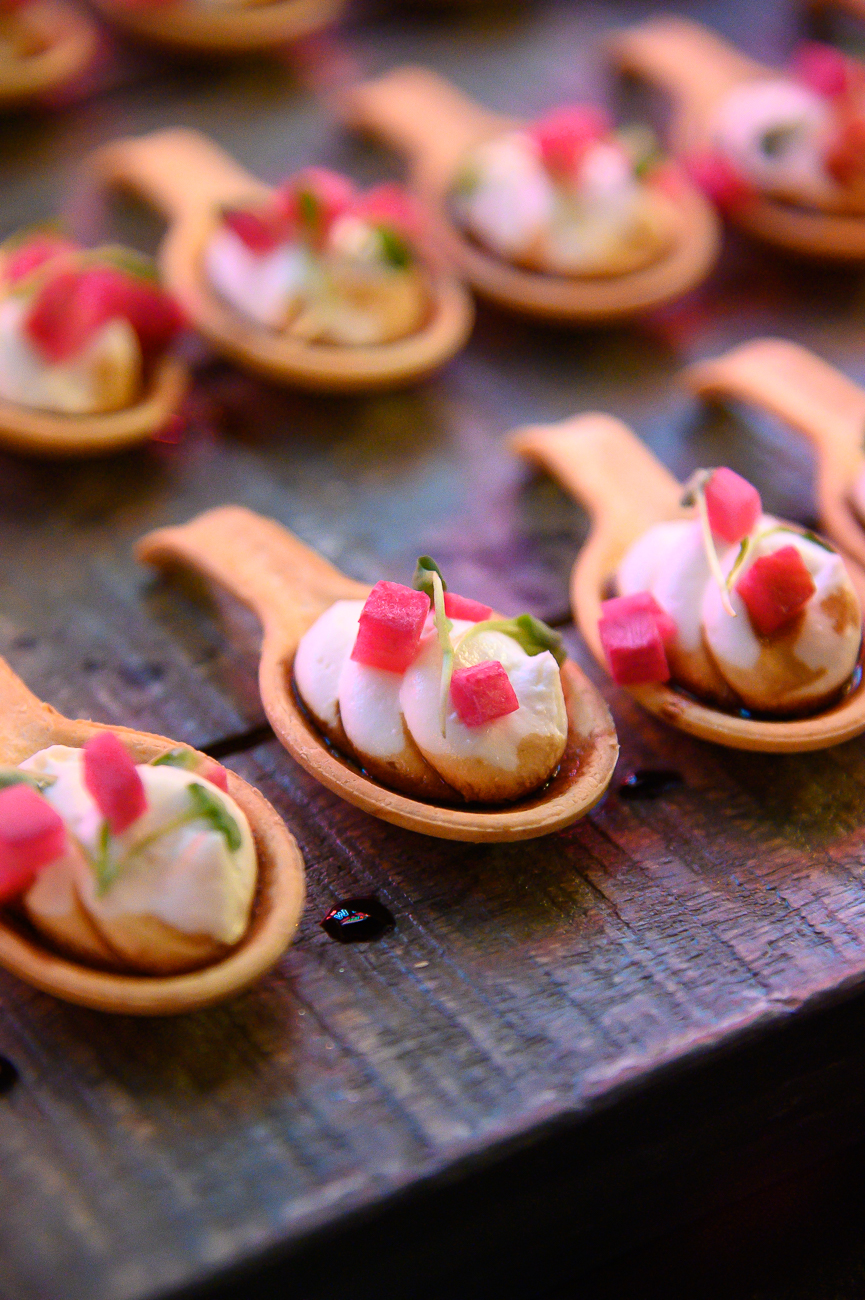 Goat Cheese Bites: watermelon radish, balsamic vinaigrette, and an edible spoon.{ }/ Image: Phil Armstrong, Cincinnati Refined // Published: 1.24.20