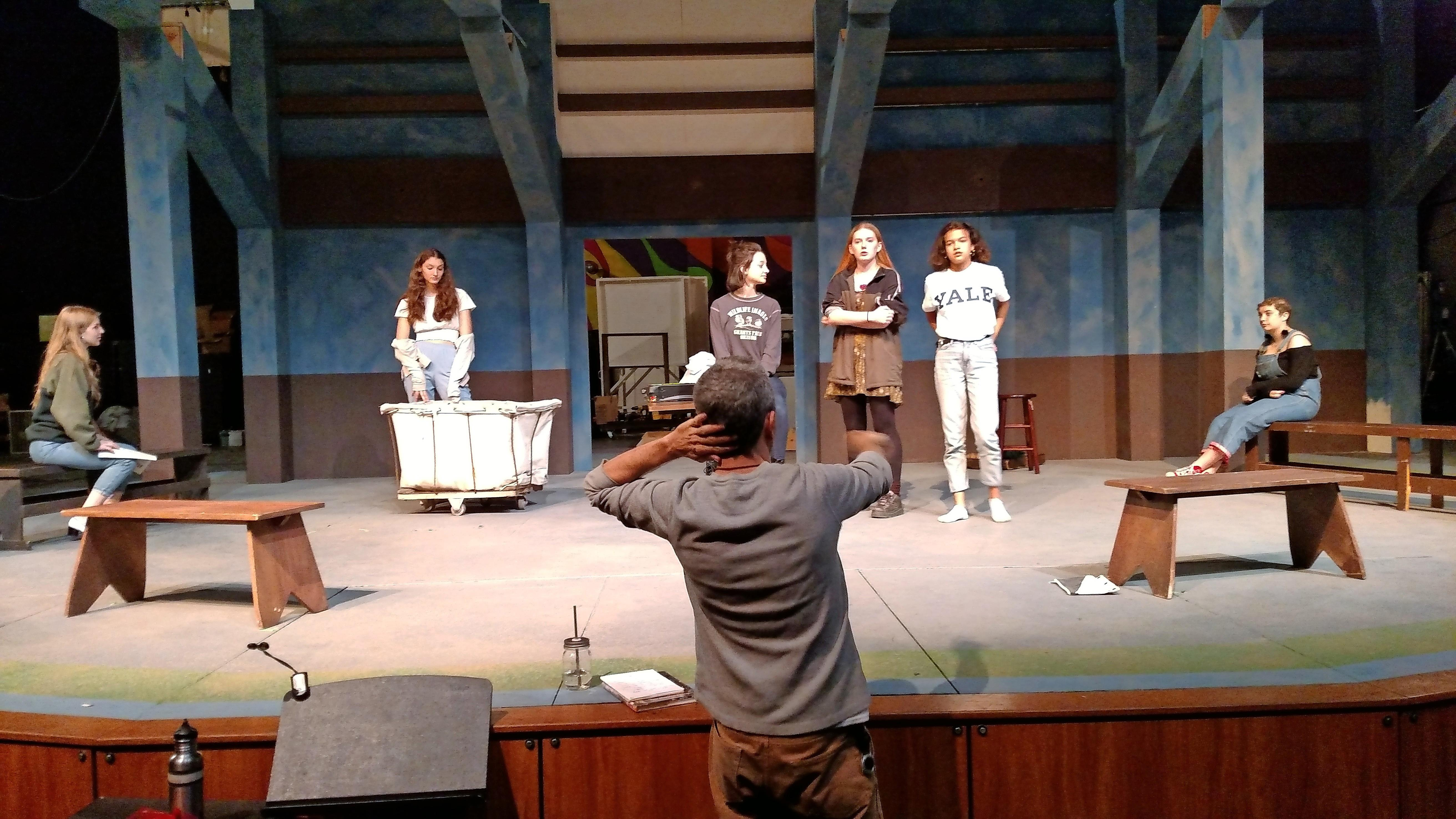 Director Barret O'Brien works with the cast (Photo by Maureen Flanagan Battistella)
