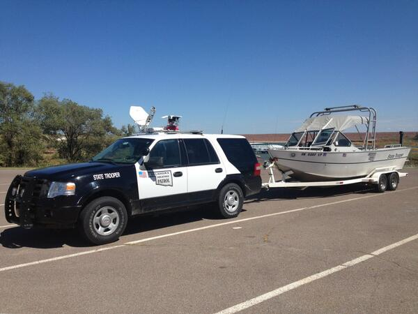 An Oklahoma Highway Patrol boat was at the scene Wednesday.