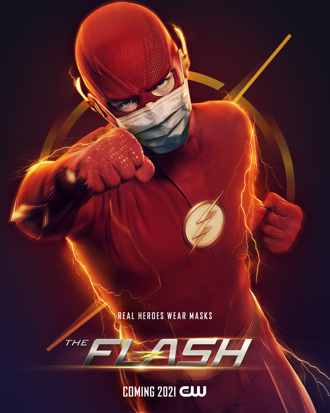 "The Flash featured in The CW's latest campaign, ""Real Heroes Wear Masks."" August 7, 2020 (The CW)"