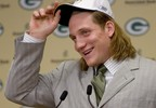 Green Bay Packers first-round draft pick A.J. Hawk answers questions from the media Saturday night, April 29, 2006, at Lambeau Field in Green Bay. The Packers picked the Ohio State linebacker with the fifth overall pick in the NFL draft.