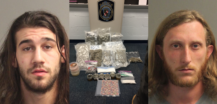 Alexander Naje Fattouche (left) and Matthew Sloan Hill (right) were arrested after police found over $170,000 worth of drugs in an Annapolis home. (Photo, Anne Arundel County Police)
