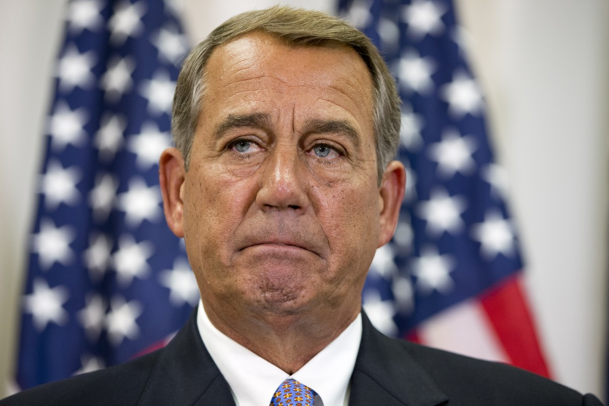 In this Sept. 9, 2015, file photo, Speaker of the House John Boehner pauses during a news conference with members of the House Republican leadership on Capitol Hill in Washington. Congress' Republican leaders face stark tests as they fight to keep the government open past month's end, amid fears a shutdown could crush their party's White House ambitions. (AP Photo/Jacquelyn Martin, File)