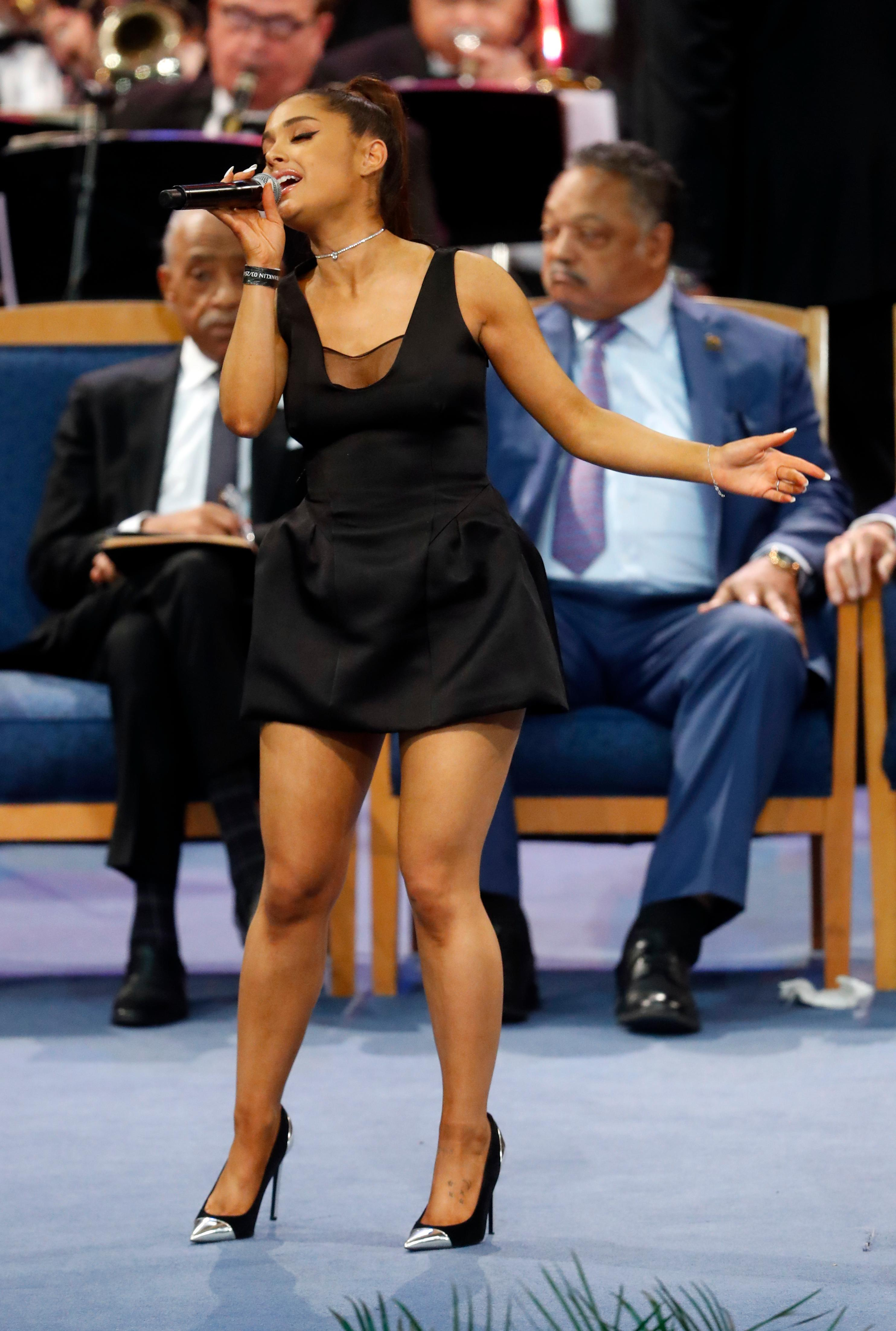 Ariana Grande performs during the funeral service for Aretha Franklin at Greater Grace Temple, Friday, Aug. 31, 2018, in Detroit. (AP Photo/Paul Sancya)