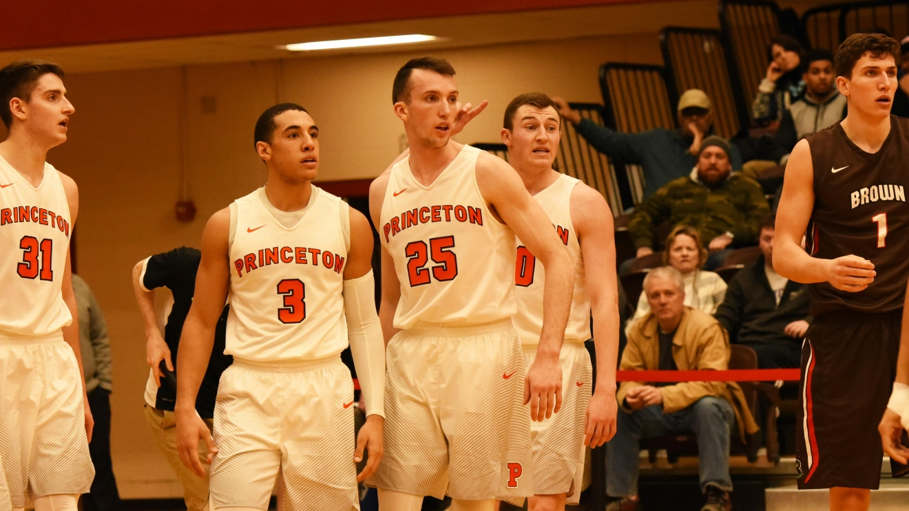 Princeton is undefeated in the Ivy League.  Pete Miller (left), Devin Cannady, Steven Cook and Spencer Weisz in action against Brown. Photo courtesy Princeton Athletics