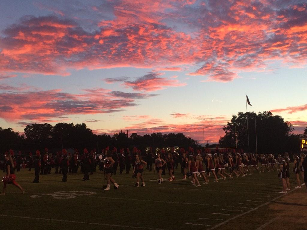 Sunset for Southside High School's homecoming game, Friday, Sept. 26, 2014.