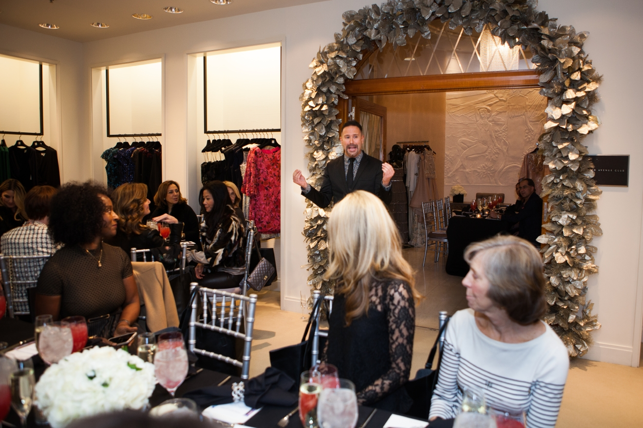 "Just in time for women in need of Inauguration attire, Badgley Mischka designers Mark Badgley and James Mischka made a stop in the DMV to share a sneak peek of their couture gown line. Hailed by Vogue as one of the ""Top 10 American Designers,"" the duo hosted some of the area's most fashion savvy ladies and gents for a luncheon at the Tysons Saks Fifth Avenue to show off their latest in evening wear and accessories. (Image: Jay Snap/ LaDexon Photographie)"