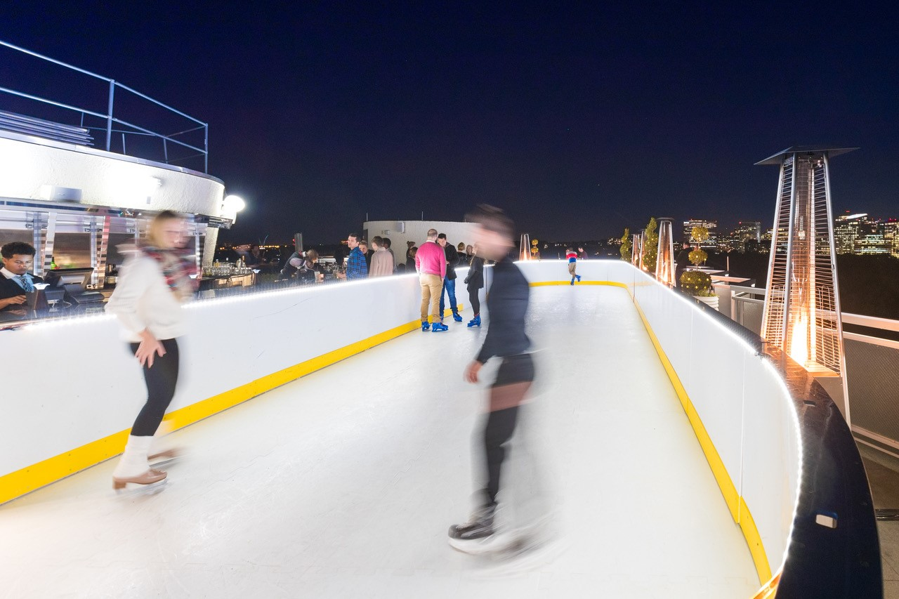Now, you can ice skate on the rooftop overlooking the city, with insane 360-degree views. Oh, and did I mention you can skate right up the bar and order yourself a steamy cup of spiked hot chocolate?? Top of the Skate is a 70 foot x 20 foot one-of-a-kind synthetic ice rink and cozy winter lounge located where the hotel's rooftop bar, Top of the Gate, usually is. (Image: Courtesy Watergate Hotel)<p></p>