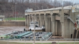 Tow boat, barges stuck at Racine Locks and Dam in Meigs County, Ohio