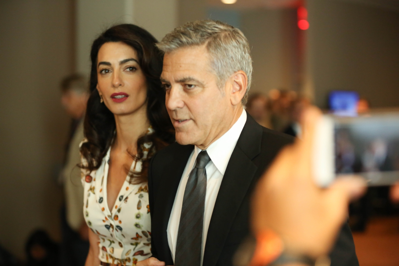 George Clooney and wife Amal Clooney at UN roundtable meeting with the president Obama at United Nations New York. (Andres Otero/WENN.com)