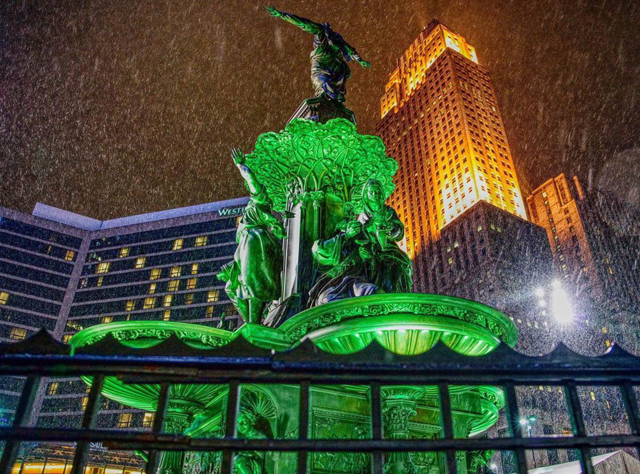 The Tyler Davidson Fountain at Fountain Square comes to life on stormy evenings. / Image courtesy of Instagram user @dkayserus // Published: 3.20.19