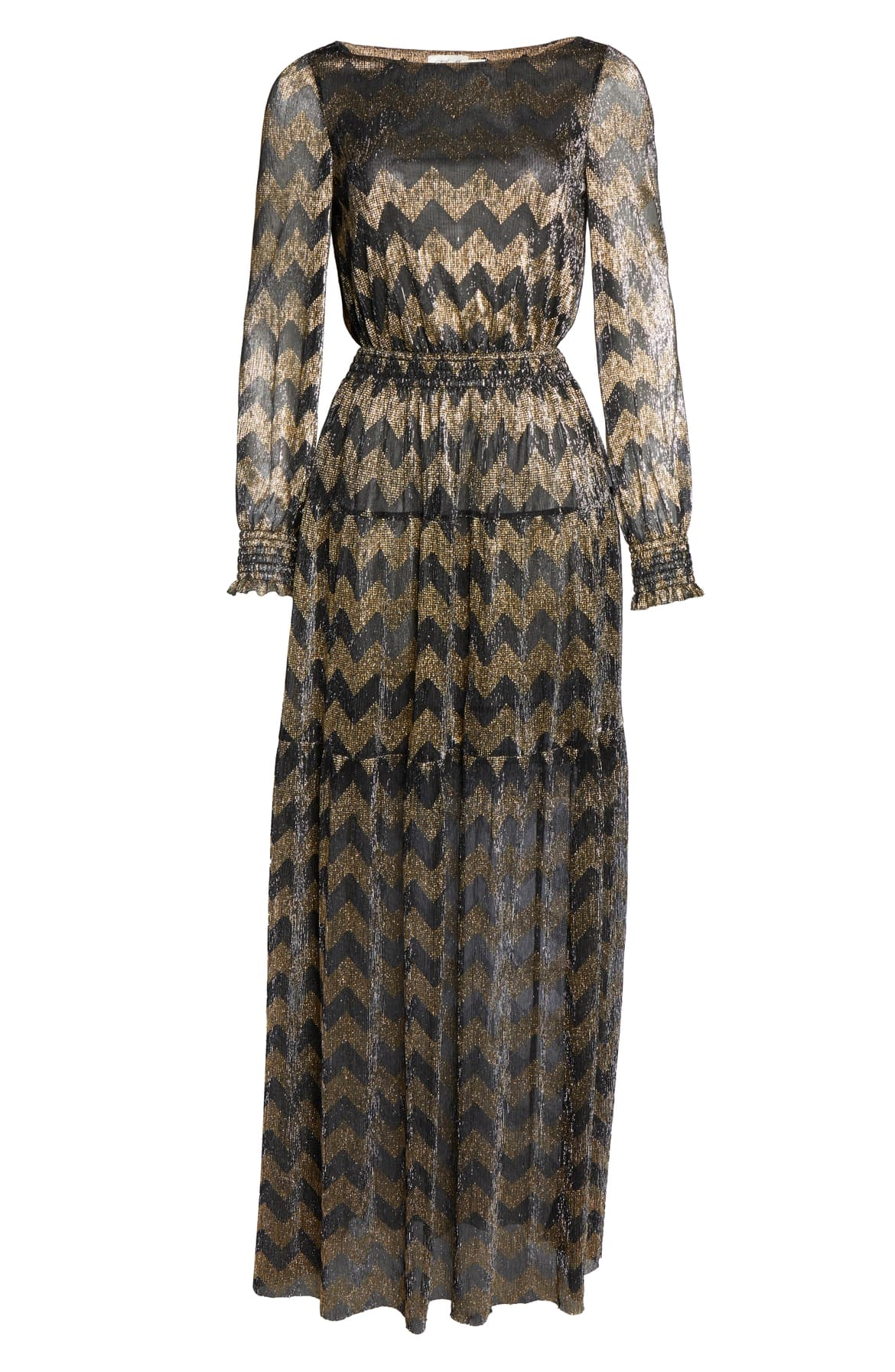 "<a  href=""https://shop.nordstrom.com/s/eliza-j-metallic-chevron-stripe-long-sleeve-maxi-dress/5405239/full?origin=keywordsearch-personalizedsort&breadcrumb=Home%2FAll%20Results&color=gold"" target=""_blank"" title=""https://shop.nordstrom.com/s/eliza-j-metallic-chevron-stripe-long-sleeve-maxi-dress/5405239/full?origin=keywordsearch-personalizedsort&breadcrumb=Home%2FAll%20Results&color=gold"">Eliza J Metallic Chevron Stripe Long Sleeve Maxi Dress - $188.</a>{&nbsp;}From cozy to gold hued to tailored, Nordstrom has the hottest trends for getting glam this holiday season! (Credit: Nordstrom)"