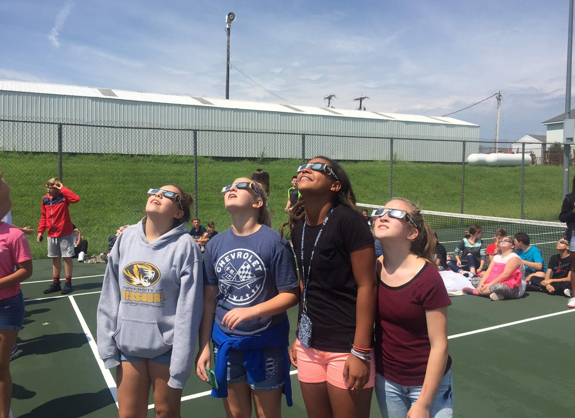 Students at Osage Trail Middle School enjoying the eclipse. [Photo courtesy of Fort Osage School District]