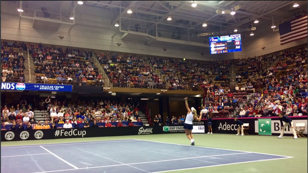 <p>Tennis has taken over downtown Asheville. Day one of the Fed Cup just wrapped up, and it's USA 2, Netherlands 0. (Photo: WLOS staff)</p>