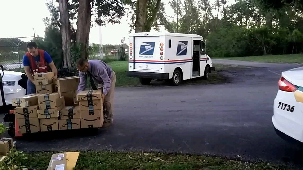 Tri-County Animal Rescue picks up packages that fell out the back of a mail truck in Boca Raton. (Tri-County Animal Rescue)<p></p>