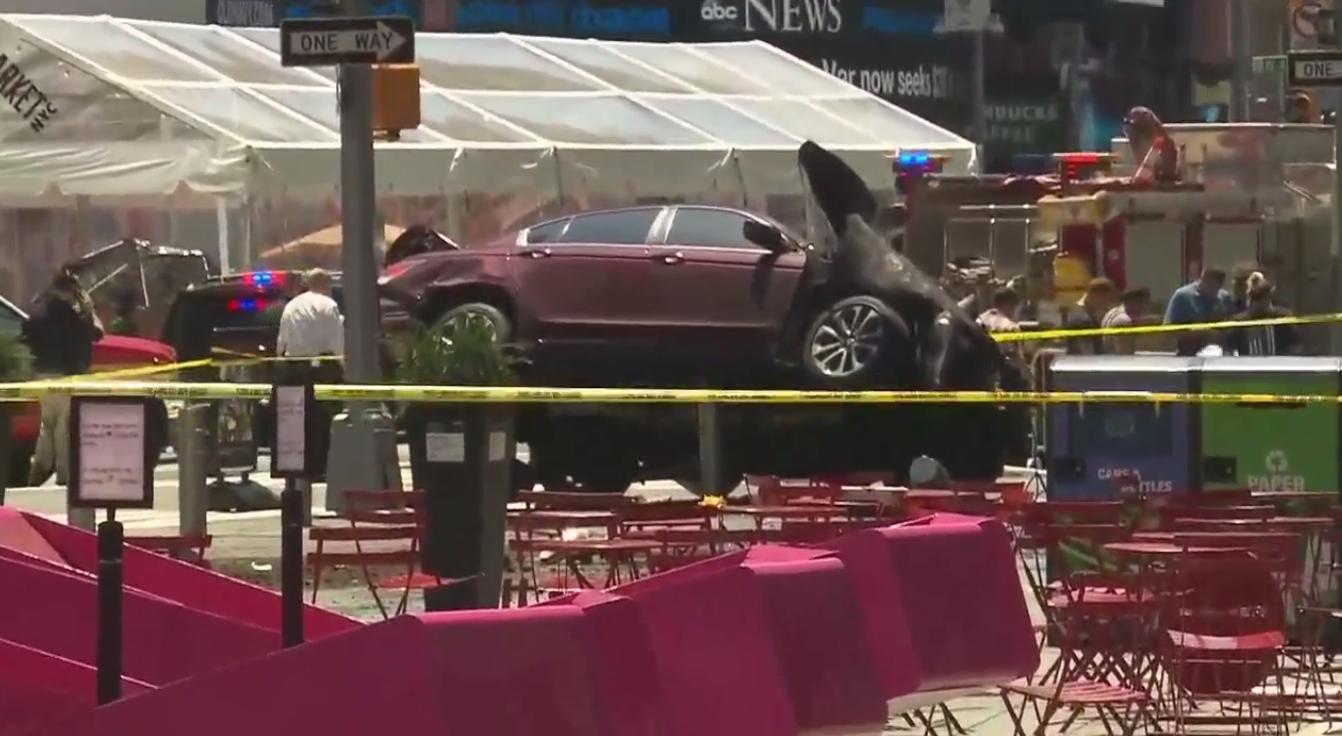 Vehicle speeds onto NYC's Times Square sidewalk, hitting people Thursday, May 18, 2017. (CNN Newsource)