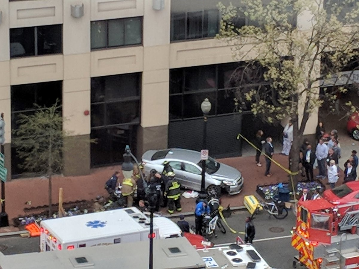 Police say as many as four people were hit by a vehicle in D.C. after a two-car collision.{ } Tuesday, April 24, 2018 (Photo courtesy of @hoborocks/Twitter){ }