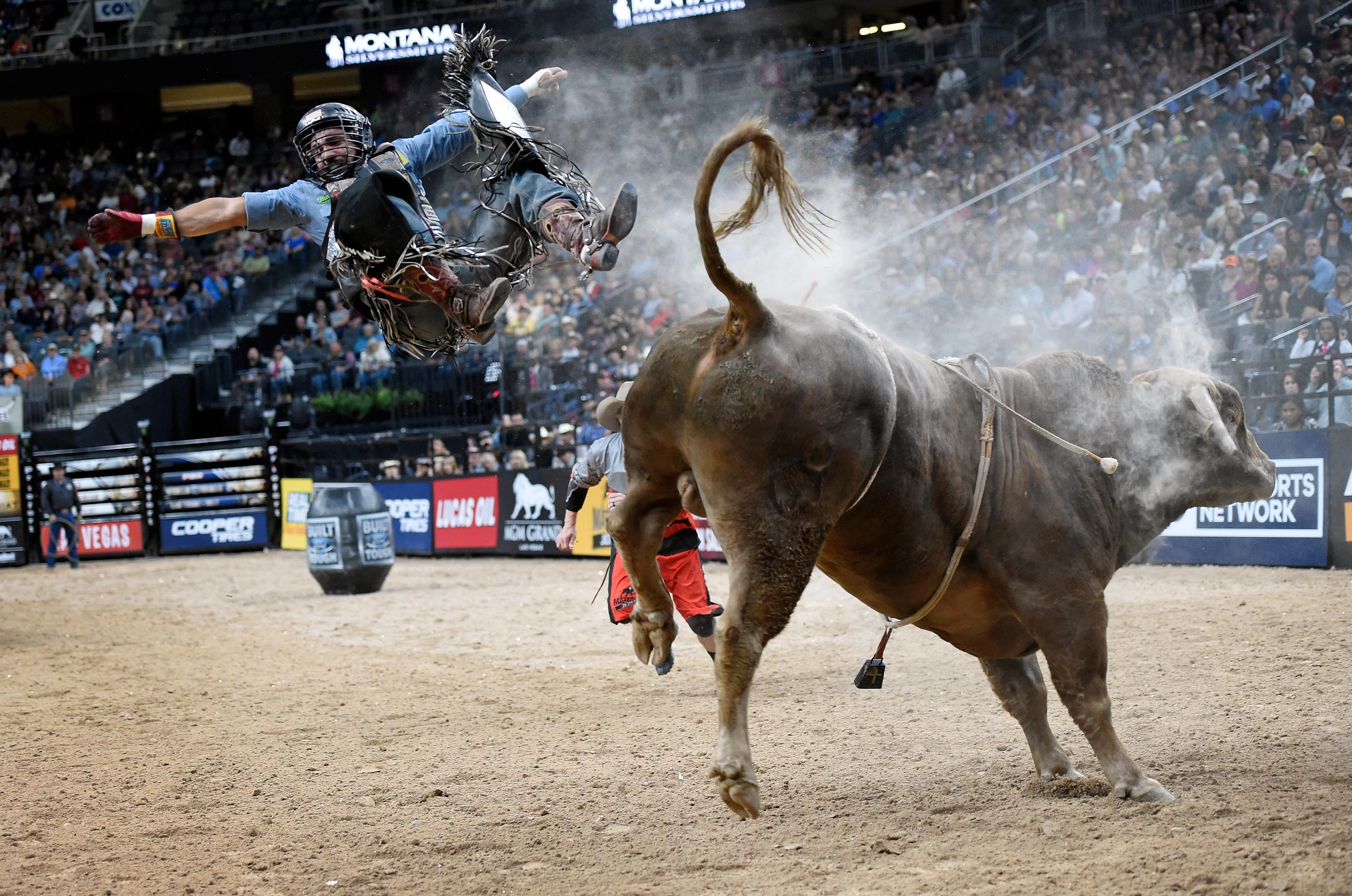 Rubens Barbosa jumps off Cochise during the final round at the PBR World Finals at T-Mobile Arena Sunday, Nov. 5, 2017, in Las Vegas. [David Becker/Las Vegas News Bureau]