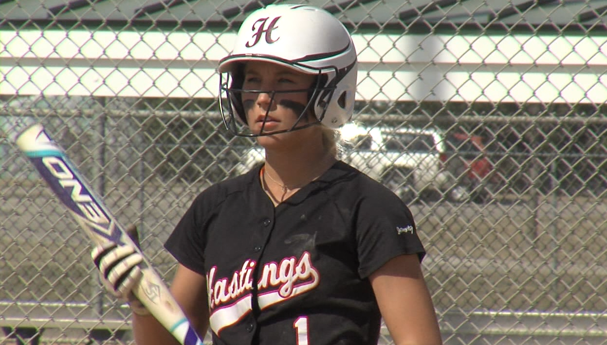 Taylor Asche of Hastings College  before an at-bat versus KWU, March 19, 2017 at the Smith Softball Complex (NTV News)