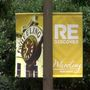 Banners featuring local artwork hanging in downtown Wheeling