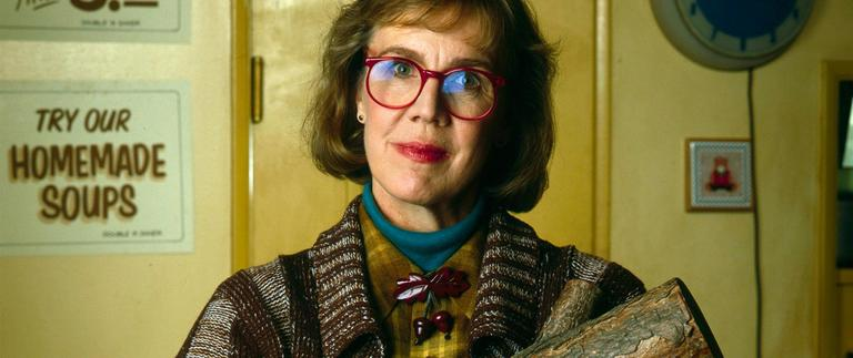 "Catherine Coulson as ""The Log Lady."""