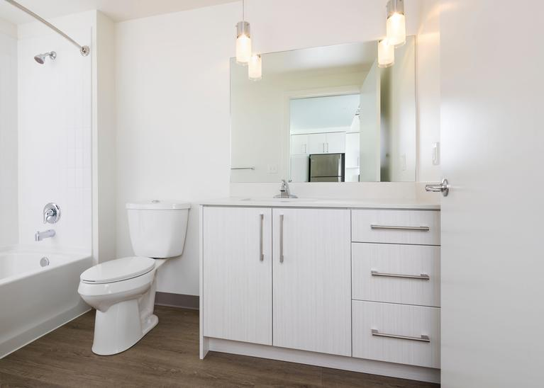 The bathrooms also feature warm wood or cool gray cabinets and quartz countertops - plus custom pendant lighting.