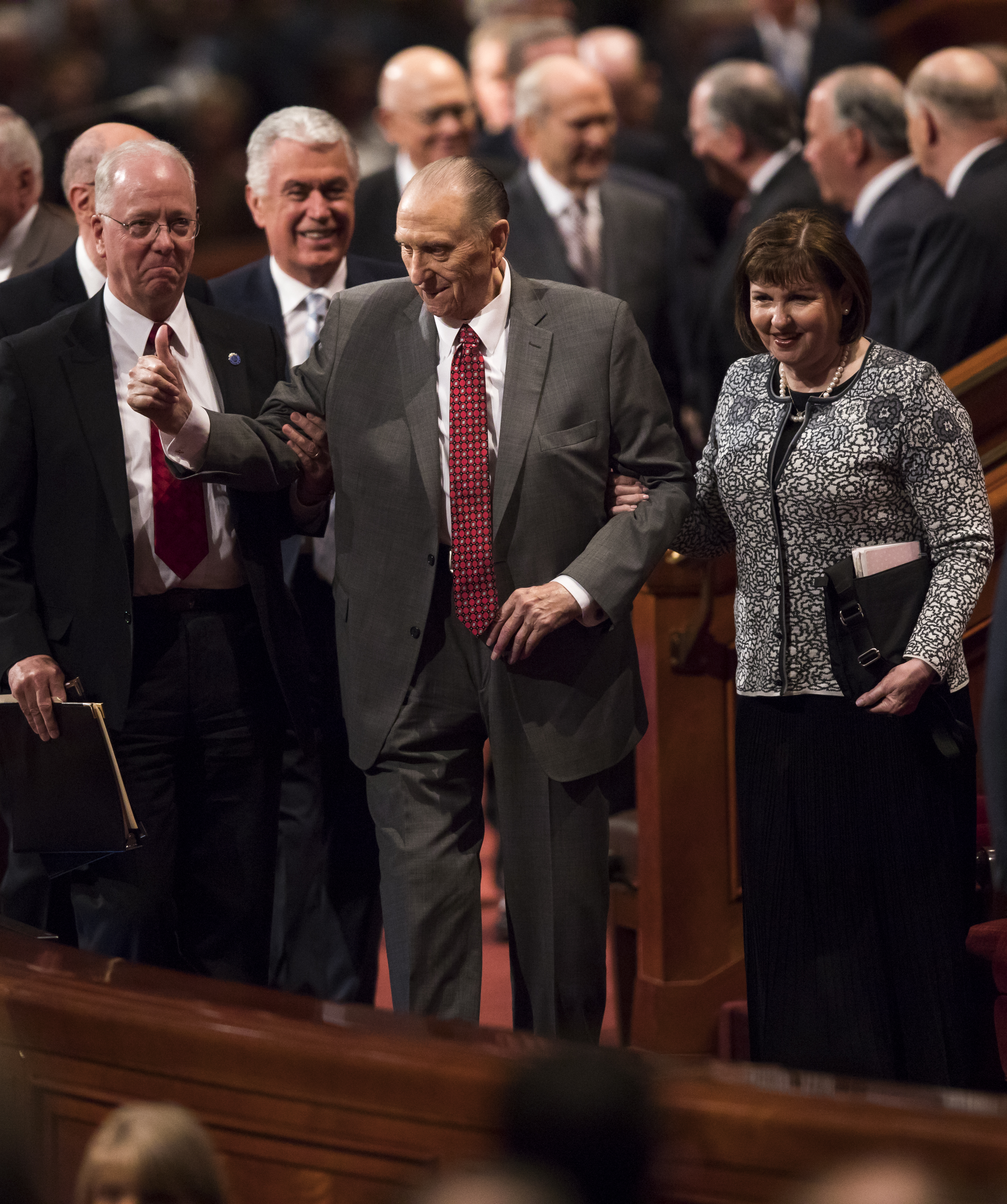 President Thomas S. Monson exits the Saturday morning session of the April 2017 general conference. (Photo: MormonNewsroom.org){&amp;nbsp;}<p></p>