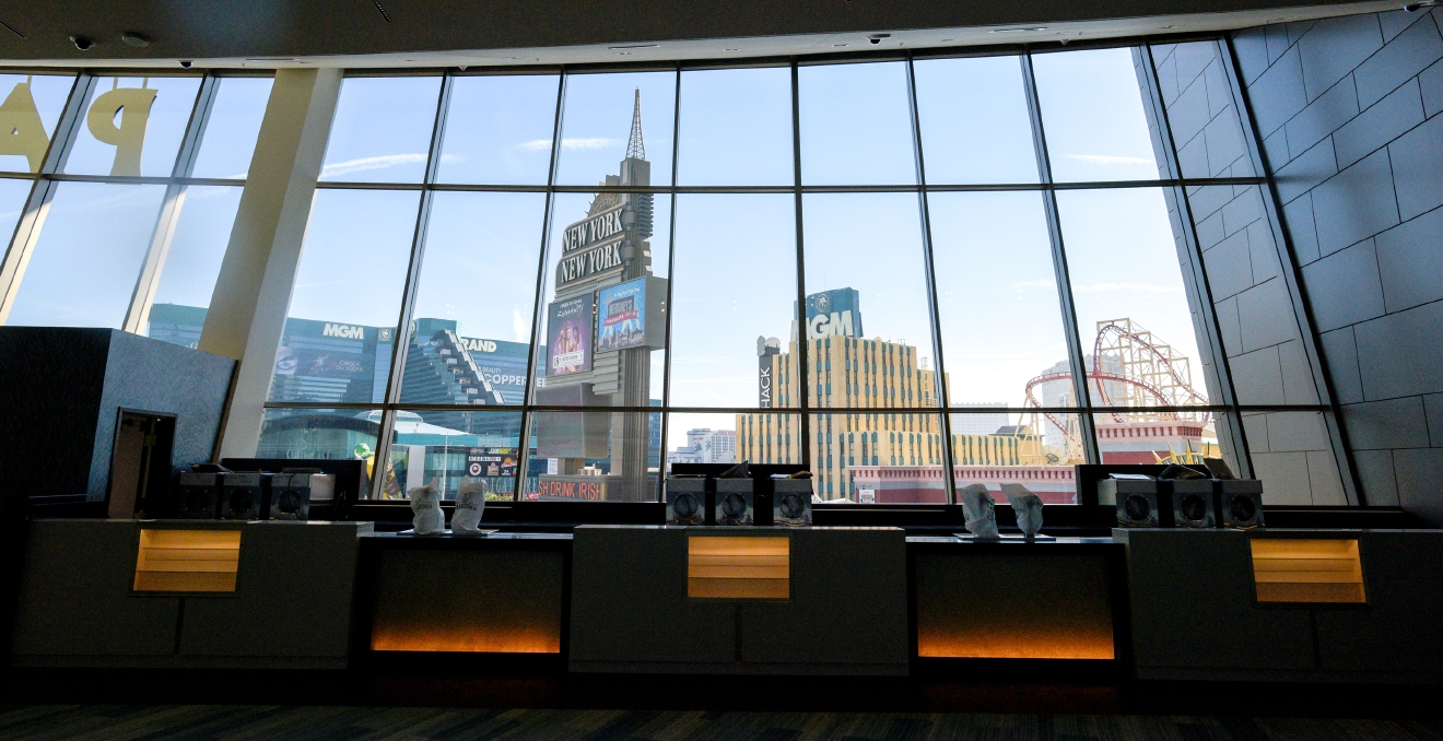 The marquee of New York New York and the front of the MGM Grand across the Strip are seen through a window behind a second-floor bar in  The Park Theater at the Monte Carlo Resort and Casino in Las Vegas on Tuesday, Dec. 6, 2016. The 5200-seat venue opens on Dec. 17 with Stevie Nicks and The Pretenders.  CREDIT: Mark Damon/Las Vegas News Bureau